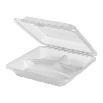 GETEC121CL - GET Enterprises - EC-12-1-CL - Eco-Takeouts 9 in x 9 in x 2 3/4 in 3-Comp Container Product Image