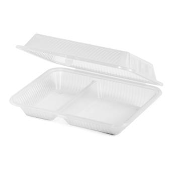 GETEC151CL - GET Enterprises - EC-15-1-CL - Eco-Takeouts 10 in x 8 in x 3 in 2-Comp Container Product Image