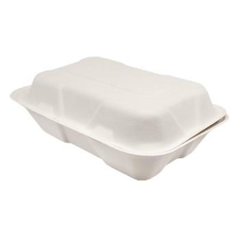 56259 - Karat Earth - KE-BHC96-1C - 9 in x 6 in Bagasse Clamshells Product Image