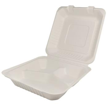 56261 - Karat Earth - KE-BHC99-3C - 9 in x 9 in 3-Compartment Bagasse Clamshells Product Image