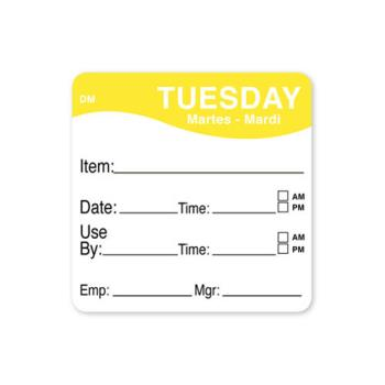 81481 - DayMark - 1100532 - DissolveMark 2 in x 2 in Tuesday Use By Label Product Image