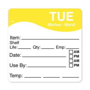 DAY1100612 - DayMark - 1100612 - MoveMark 2 1/2 in x 2 1/2 in Tuesday Shelf Life Label Product Image