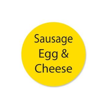 DAY111259 - DayMark - 111259 - DuraMark 1 in Round Sausage Egg and Cheese Label Product Image