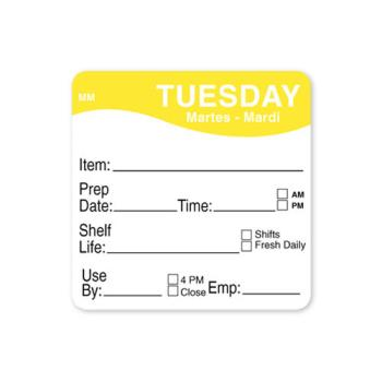 DAY1122122 - DayMark - 1122122 - MoveMark 2 in x 2 in Tuesday Shelf Life Label Product Image