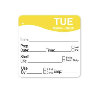 DAY1122132 - DayMark - 1122132 - DissolveMark 2 in x 2 in Tuesday Shelf Life Label Product Image