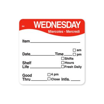 DAY1142823 - DayMark - 1142823 - ReMark 2 in x 2 in Wednesday Label Product Image