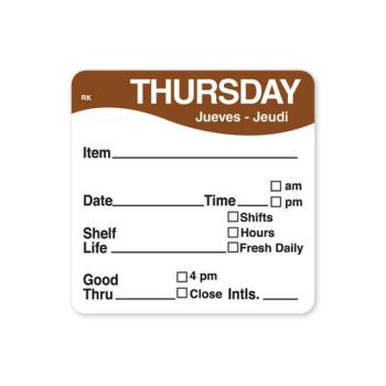 DAY1142824 - DayMark - 1142824 - ReMark 2 in x 2 in Thursday Label Product Image