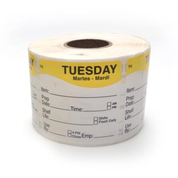 "18714 - DayMark - 1143682 - ToughMark 2"" x 2"" Tuesday Shelf Life Label Product Image"