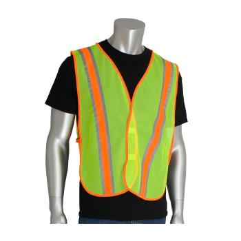PIN3000900LY - PIP - 300-0900LY - Yellow Mesh Safety Vest Non-ANSI w/ Reflective Tape Product Image
