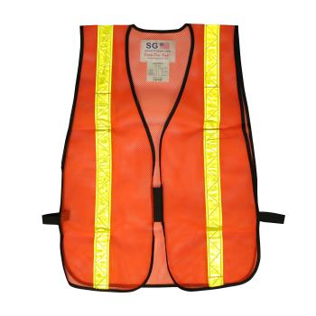 PIN300EVORPOR - PIP - 300-EVOR-POR - Orange Mesh Safety Vest Non-ANSI w/ Yellow Reflective Tape Product Image