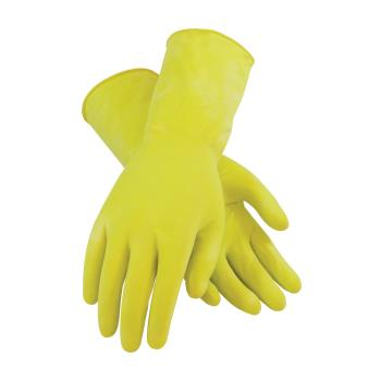 "PIN48L140YM - PIP - 48-L140Y/M - 12"" Lined 14 mil Yellow Latex Gloves w/ Grip (M) Product Image"