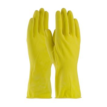 "PIN48L160YM - PIP - 48-L160Y/M - 12"" Lined 16 mil Yellow Latex Gloves w/ Grip (M) Product Image"
