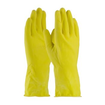 "PIN48L185YS - PIP - 48-L185Y/S - 12"" Lined 18 mil Yellow Latex Gloves w/ Grip (S) Product Image"
