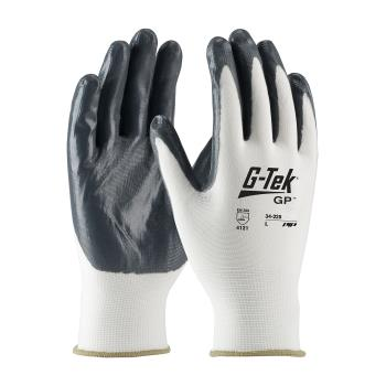 PIN34225S - PIP - 34-225/S - G-Tek White Nylon Gloves w/ Nitrile Coating (S) Product Image