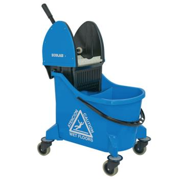 ECL89990207 - Ecolab Food Safety - 89990207 - Blue Dual Chamber Down Press Wringer Mop Bucket Product Image