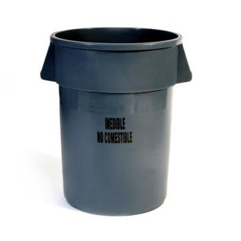 36153 - Rubbermaid - FG264356GRAY - 44 gal Round Gray BRUTE® Trash Can w/ Inedible Label Product Image