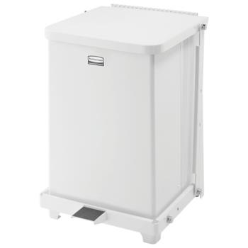 85077 - Rubbermaid - FGQST7EPLWH - 7 gal Silent Defenders® White Step Trash Can Product Image
