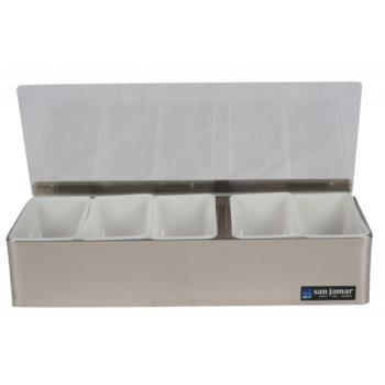 SANB4155L - San Jamar - B4155L - 5 pt Non-Chilled Garnish Tray Product Image