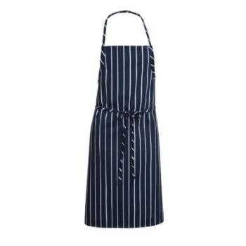 81748 - Chef Works - A100-NCS - Navy Chalk Stripe English Chef Apron Product Image