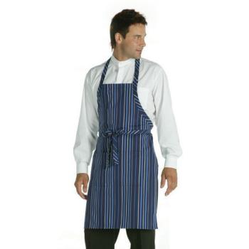 CFWA500NFW - Chef Works - A500-NFW - Navy/White Striped Bib Apron Product Image