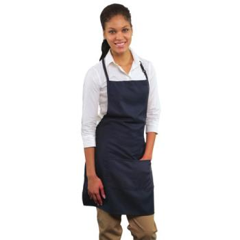 19142 - RDW - A9025N - 2 Pocket Navy Blue Bib Apron Product Image