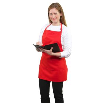 19153 - RDW - A9035R - 3 Pocket Red Bib Apron Product Image