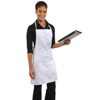 19176 - RDW - B9025WT - 2 Pocket White Bib Apron Product Image