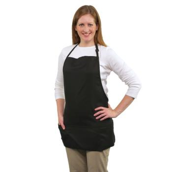 19177 - RDW - B9035B - 3 Pocket Black Bib Apron Product Image