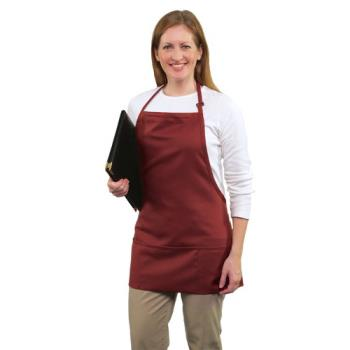 19178 - RDW - B9035C - 3 Pocket Coffee Brown Bib Apron Product Image