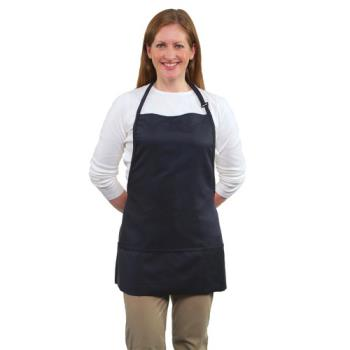 19182 - RDW - B9035N - 3 Pocket Navy Blue Bib Apron Product Image