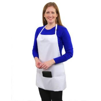 19186 - RDW - B9035WT - 3 Pocket White Bib Apron Product Image