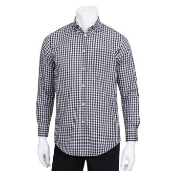 CFWD500BWCM - Chef Works - D500BWC-M - Men's Black Gingham Dress Shirt (M) Product Image