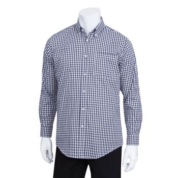 CFWD500BWK3XL - Chef Works - D500BWK-3XL - Men's Navy Gingham Dress Shirt (3XL) Product Image