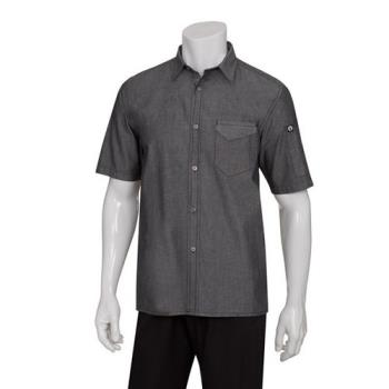 CFWSKS002BLKS - Chef Works - SKS002-BLK-S - Black Detroit Short-Sleeve Denim Shirt (S) Product Image