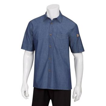 CFWSKS002IBLS - Chef Works - SKS002-IBL-S - Indigo Blue Detroit Short-Sleeve Denim Shirt (S) Product Image