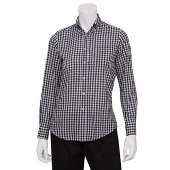 CFWW500BWCM - Chef Works - W500BWC-M - Women's Black Gingham Dress Shirt (M) Product Image