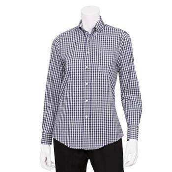 CFWW500BWK3XL - Chef Works - W500BWK-3XL - Women's Navy Gingham Dress Shirt (3XL) Product Image