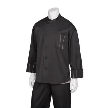 CFWSILSBTG2XL - Chef Works - SILS-BTG-2XL - Amalfi Black/Gray Chef Coat (2XL) Product Image