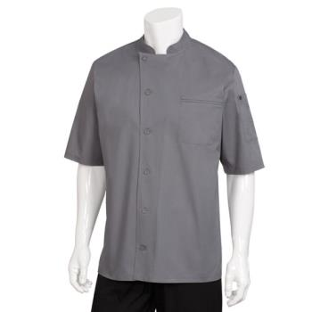 38189 - Chef Works - VSSS-GBC-L - Large Gray Valais V-Series Chef Coat Product Image