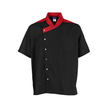 KNG2779BKRD2XL - KNG - 2779BKRD2XL - 2XL Lightweight Uptown Black and Red Chef Coat Product Image