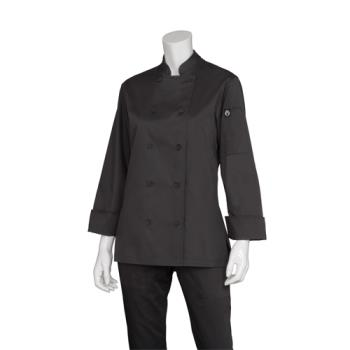 CFWCWLJBLK2XL - Chef Works - CWLJ-BLK-2XL - Women's Marbella Black Chef Coat (2XL) Product Image