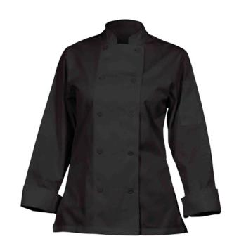 81914 - Chef Works - CWLJ-BLK-S - Women's Marbella Black Chef Coat (S) Product Image