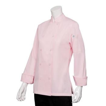 81918 - Chef Works - CWLJ-PIN-M - Women's Marbella Pink Chef Coat (M) Product Image