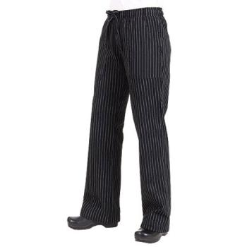 CFWBWOMBPS3XL - Chef Works - BWOM-BPS-3XL - Women's Black Pinstripe Chef Pants (3XL) Product Image