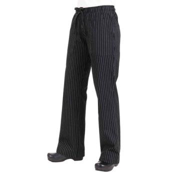 81907 - Chef Works - BWOM-BPS-XS - Women's Black Pinstripe Chef Pants (XS) Product Image