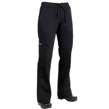 CFWCPWOBLK3XL - Chef Works - CPWO-BLK-3XL - Women's Black Cargo Chef Pants (3XL) Product Image