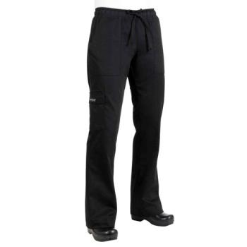 81910 - Chef Works - CPWO-BLK-XL - Women's Black Cargo Chef Pants (XL) Product Image