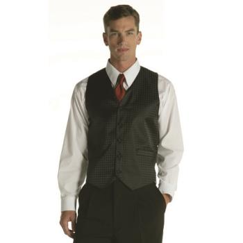 75907 - Chef Works - VPM5-BK3-L - Black Polka Dot Vest (L) Product Image