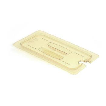 281542 - Cambro - 60HPCHN150 - 1/6 Size Amber H-Pan™ Notched Food Pan Cover w/ Handle Product Image