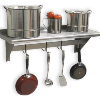 ADVPS1272ECX - Advance Tabco - PS-12-72-EC-X - 72 in x 12 in Stainless Steel Wall Shelf w/ Pot Rack Product Image